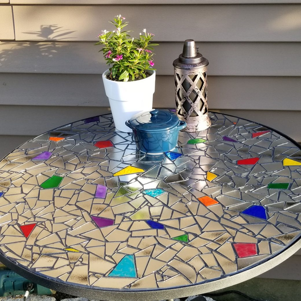 Mirrored Mosaic Outdoor Bistro Table with Gallery Glass Paint Accents