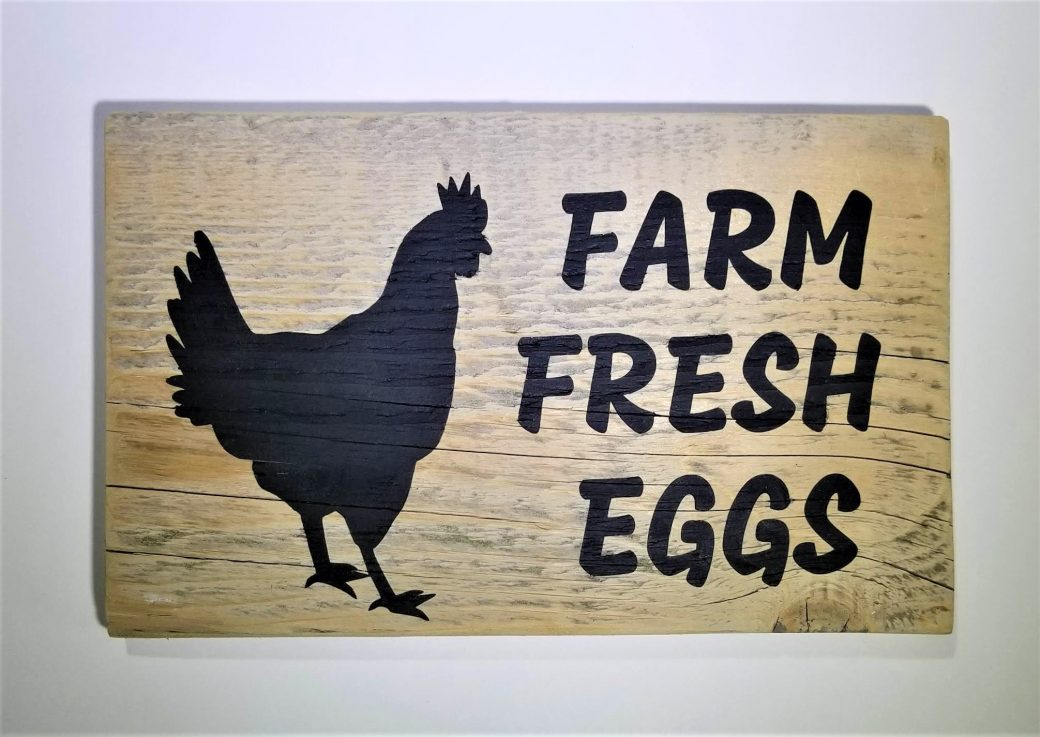 Hand Painted Sign on Reclaimed Wood ~ Farm Fresh Eggs