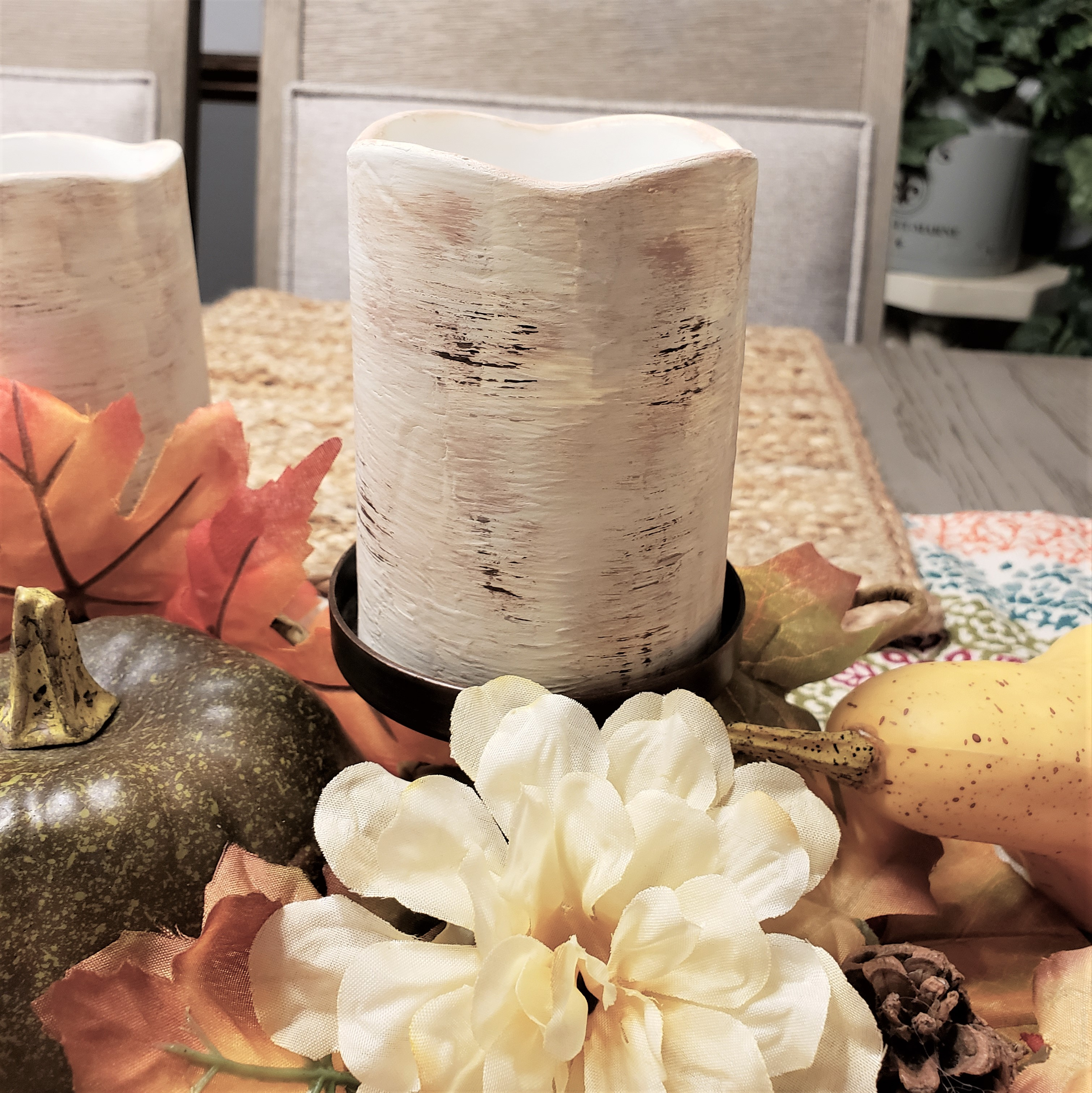 Faux Birch Bark Painted Candles from Dollar Tree LED Pillars