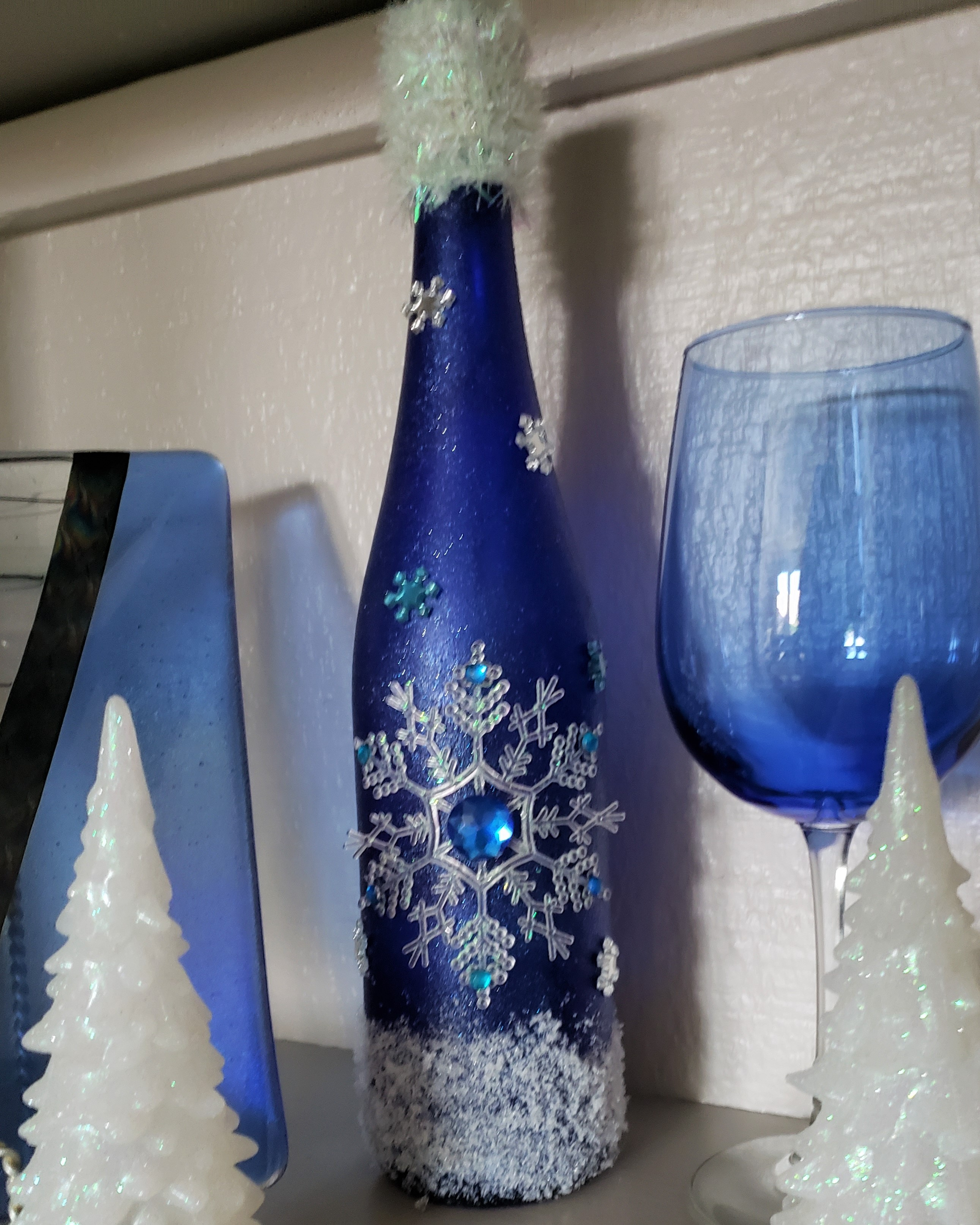 Winter Snowflakes Lighted Blue Wine Bottle