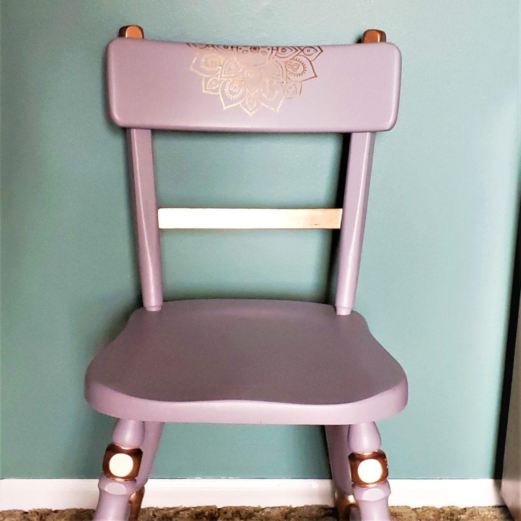 finished purple chair
